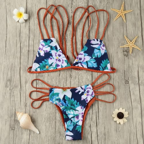 Sexy Women Strappy Bikini Set Push Up Swimsuit Print Cutout Padded Swimwear Bathing Suit BrownApparel &amp; Jewelry<br>Sexy Women Strappy Bikini Set Push Up Swimsuit Print Cutout Padded Swimwear Bathing Suit Brown<br>