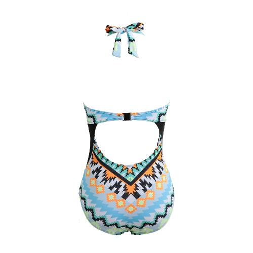 Women One Piece Swimsuit Pixel Print Halter Straps Cut Out Back Clip Swimwear Rompers Jumpsuit BlueApparel &amp; Jewelry<br>Women One Piece Swimsuit Pixel Print Halter Straps Cut Out Back Clip Swimwear Rompers Jumpsuit Blue<br>