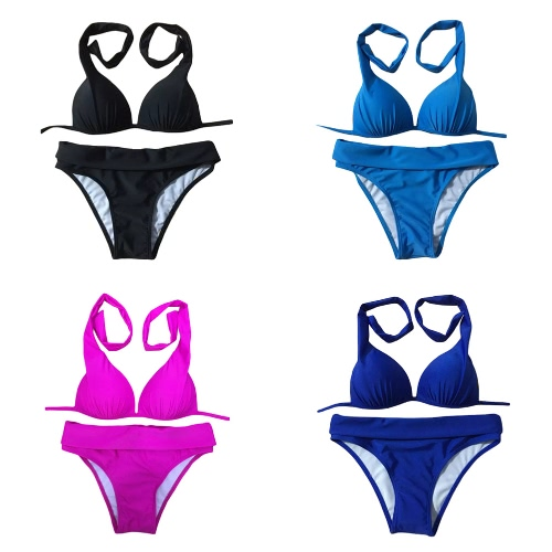 Sexy Women Bikini Set Halter Solid Padded Wireless Bathing Suit Swimwear Swimsuits Two PieceApparel &amp; Jewelry<br>Sexy Women Bikini Set Halter Solid Padded Wireless Bathing Suit Swimwear Swimsuits Two Piece<br>