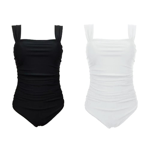 Women Retro Ruched One Piece Swimsuit Off Shoulder Slash Neck Padded Wireless Swimwear Rompers Jumpsuit Black/WhiteApparel &amp; Jewelry<br>Women Retro Ruched One Piece Swimsuit Off Shoulder Slash Neck Padded Wireless Swimwear Rompers Jumpsuit Black/White<br>