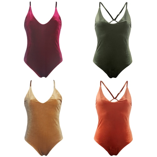New Women Velvet One Piece Swimsuit Swimwear Cross Strap Bathing Suit Beachwear Backless Monokini