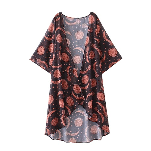 New Women Chiffon Kimono Print Asymmetric Hem Loose Cardigan Blouse Outerwear Beachwear Bikini Cover Up RedApparel &amp; Jewelry<br>New Women Chiffon Kimono Print Asymmetric Hem Loose Cardigan Blouse Outerwear Beachwear Bikini Cover Up Red<br>