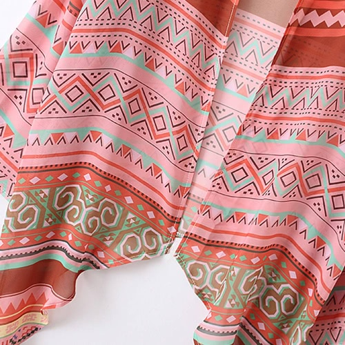 New Women Chiffon Kimono Grometry Print Asymmetric Hem Loose Cardigan Blouse Outerwear Beachwear Bikini Cover Up PinkApparel &amp; Jewelry<br>New Women Chiffon Kimono Grometry Print Asymmetric Hem Loose Cardigan Blouse Outerwear Beachwear Bikini Cover Up Pink<br>