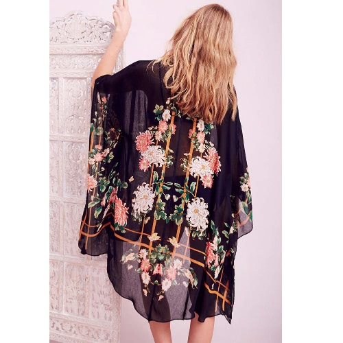 Women Beach Cover Up Floral Print Open Front Loose Retro Boho Cardigan Shawl Poncho BlackApparel &amp; Jewelry<br>Women Beach Cover Up Floral Print Open Front Loose Retro Boho Cardigan Shawl Poncho Black<br>