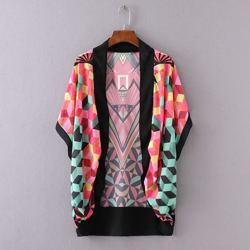 New Women Loose Outerwear Open Front Geometric Print Short Sleeves Thin Vintage Casual Cardigan Coat RedApparel &amp; Jewelry<br>New Women Loose Outerwear Open Front Geometric Print Short Sleeves Thin Vintage Casual Cardigan Coat Red<br>