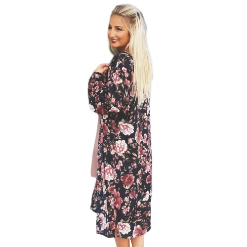 New Women Chiffon Loose Cardigan Open Front Floral Print Long Sleeves Thin Vintage Casual Outerwear BlackApparel &amp; Jewelry<br>New Women Chiffon Loose Cardigan Open Front Floral Print Long Sleeves Thin Vintage Casual Outerwear Black<br>