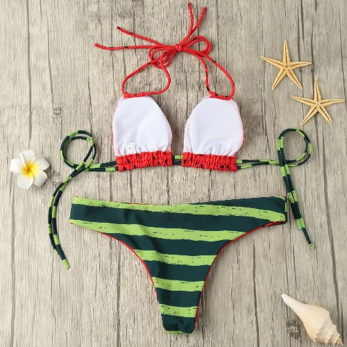 Sexy Women Bikini Set Halter Watermelon Print Padded Wireless Bathing Suit Swimwear Swimsuits Two Piece RedApparel &amp; Jewelry<br>Sexy Women Bikini Set Halter Watermelon Print Padded Wireless Bathing Suit Swimwear Swimsuits Two Piece Red<br>