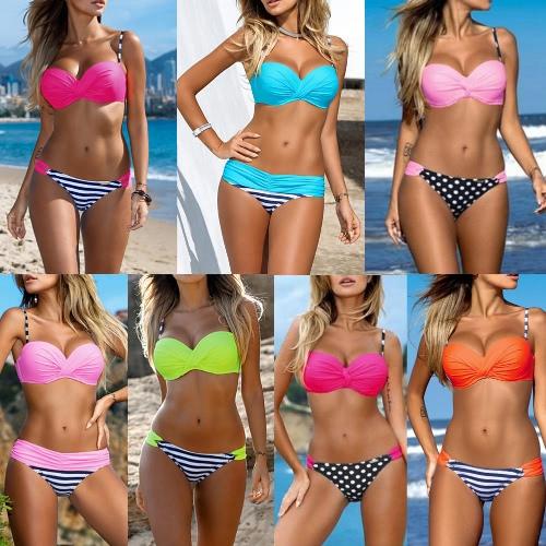 Sexy Women Bikini Set Contrast Color Underwire Push-Up Striped Dot Print Swimwear Two-Piece Beach SwimsuitApparel &amp; Jewelry<br>Sexy Women Bikini Set Contrast Color Underwire Push-Up Striped Dot Print Swimwear Two-Piece Beach Swimsuit<br>