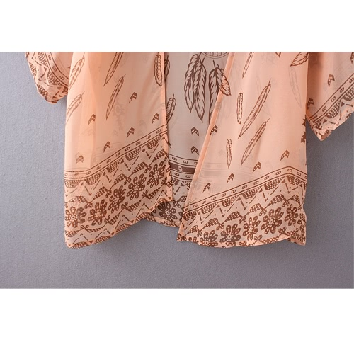 Women Summer Shirt Kimono Boho Cardigan Vintage Print Blouse Loose Beach Cover Up Outerwear Orange/GreenApparel &amp; Jewelry<br>Women Summer Shirt Kimono Boho Cardigan Vintage Print Blouse Loose Beach Cover Up Outerwear Orange/Green<br>