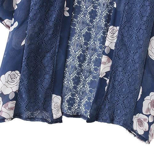 New Women Chiffon Kimono Cardigan Floral Print Hollow Out Loose Outerwear Beachwear Bikini Cover Up Blue