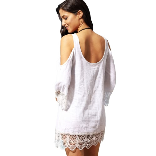Fashion Women Cover-up Cold Shoulder Lace Trim Round Neck Beachwear Mini Dress White/Black/Blue/RoseApparel &amp; Jewelry<br>Fashion Women Cover-up Cold Shoulder Lace Trim Round Neck Beachwear Mini Dress White/Black/Blue/Rose<br>