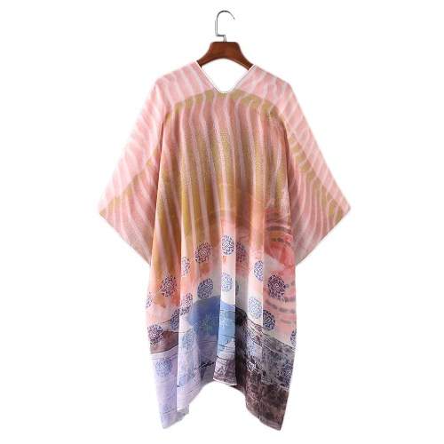 New Women Chiffon Loose Cardigan Gradient Front Floral Print 3/4 Sleeves Beach Thin Casual Outerwear PinkApparel &amp; Jewelry<br>New Women Chiffon Loose Cardigan Gradient Front Floral Print 3/4 Sleeves Beach Thin Casual Outerwear Pink<br>