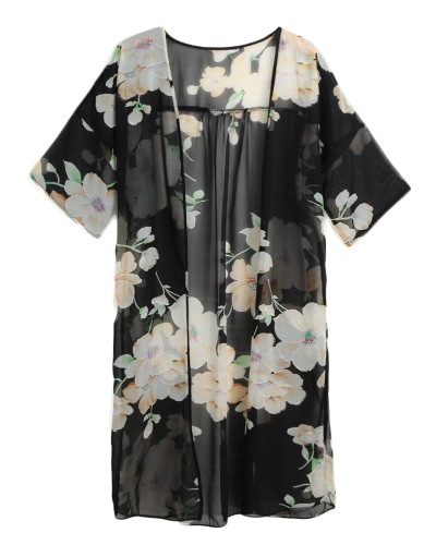 New Women Chiffon Loose Cardigan Open Front Floral Print Half Sleeves Thin Vintage Casual Outerwear BlackApparel &amp; Jewelry<br>New Women Chiffon Loose Cardigan Open Front Floral Print Half Sleeves Thin Vintage Casual Outerwear Black<br>