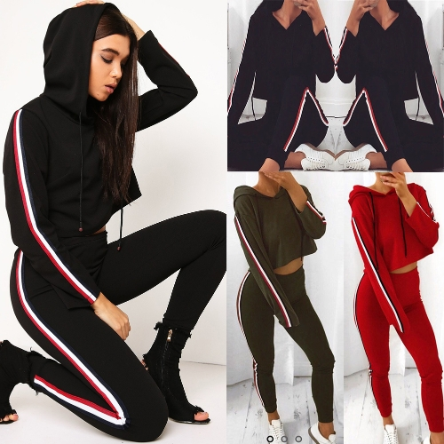 Women Two Piece Set Tracksuit Hooded Drawstring Crop Top Sport Pants Side Stripes High Waist Casual Sweat SuitApparel &amp; Jewelry<br>Women Two Piece Set Tracksuit Hooded Drawstring Crop Top Sport Pants Side Stripes High Waist Casual Sweat Suit<br>