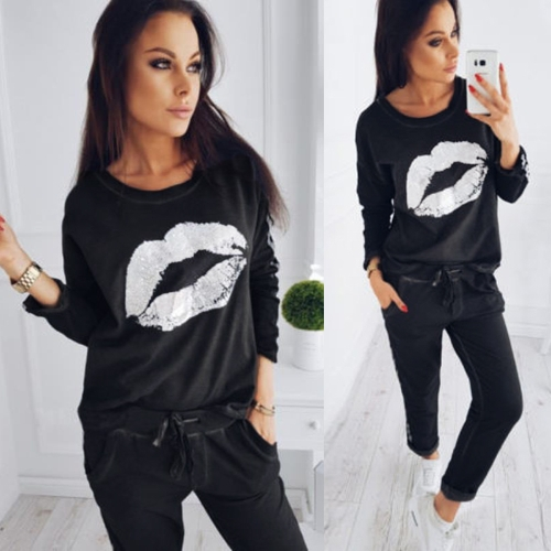 Fashion Women Tracksuit Lips Printed Long Sleeve Sweatshirt Striped Long Pants Casual 2 Piece Set Suits Black/Royal BlueApparel &amp; Jewelry<br>Fashion Women Tracksuit Lips Printed Long Sleeve Sweatshirt Striped Long Pants Casual 2 Piece Set Suits Black/Royal Blue<br>