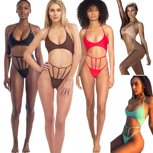 New Sexy Women Bikini Set Halter Wire Free Padded Cup Low Waist Hollow Out Thong Biquini Swimwear SwimsuitApparel &amp; Jewelry<br>New Sexy Women Bikini Set Halter Wire Free Padded Cup Low Waist Hollow Out Thong Biquini Swimwear Swimsuit<br>