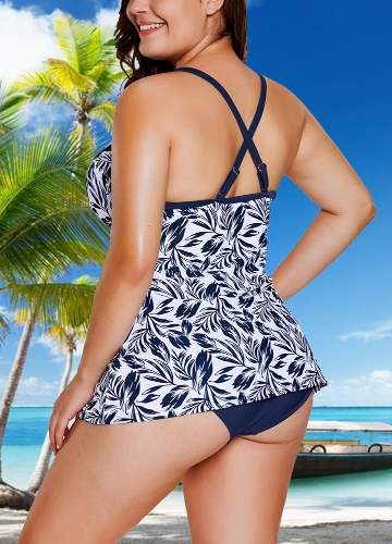 Women Plus Size Swimsuit Two Piece Set Plunge V Leaves Print Wirless Padded Cross Over Strap Sexy SwimwearApparel &amp; Jewelry<br>Women Plus Size Swimsuit Two Piece Set Plunge V Leaves Print Wirless Padded Cross Over Strap Sexy Swimwear<br>