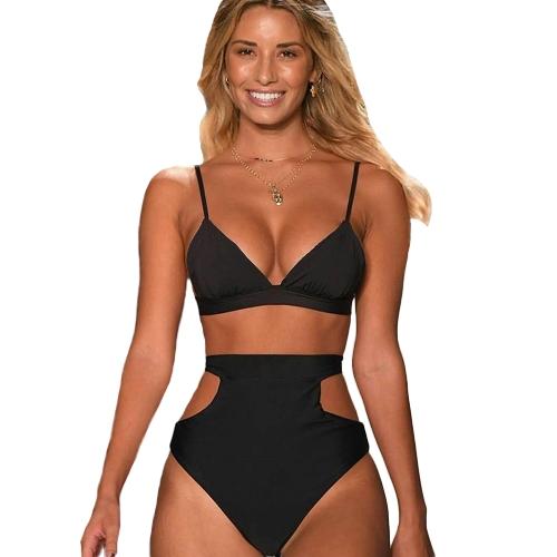 Sexy Women High Cintura Biquíni Set Halter Straps Cut Out Side Backless Two Piece Swimsuit Swimwear