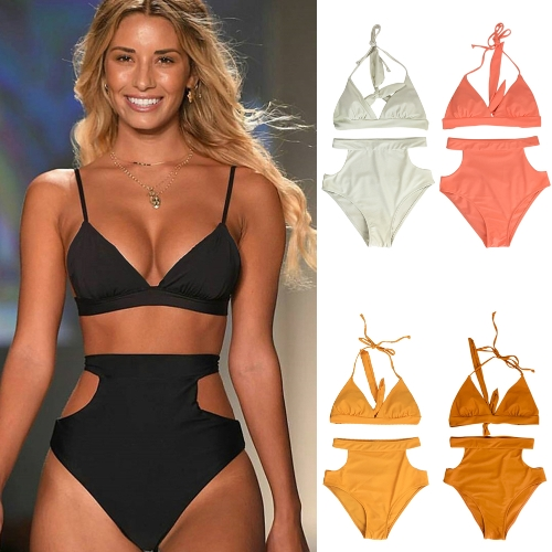 Sexy Women High Waist Bikini Set Halter Straps Cut Out Side Backless Two Piece Swimsuit SwimwearApparel &amp; Jewelry<br>Sexy Women High Waist Bikini Set Halter Straps Cut Out Side Backless Two Piece Swimsuit Swimwear<br>