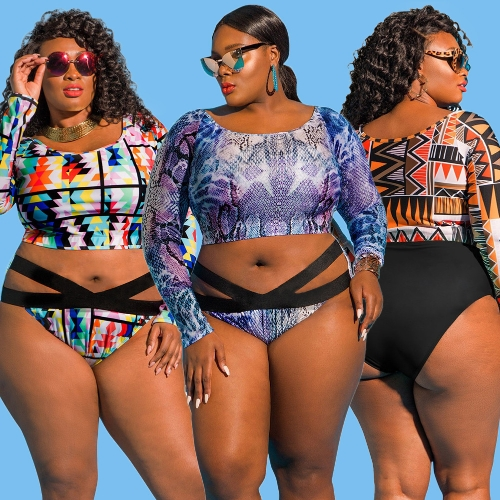 Sexy Women Plus Size Bikini Set Print Cropped Top Long Sleeves High Waist Cut Out 2Pcs Swimsuit SwimwearApparel &amp; Jewelry<br>Sexy Women Plus Size Bikini Set Print Cropped Top Long Sleeves High Waist Cut Out 2Pcs Swimsuit Swimwear<br>