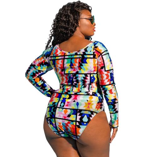 Sexy Women Plus Size Bikini Set Print Cropped Top Long Sleeves High Waist Cut Out 2Pcs Swimsuit SwimwearApparel &amp; Jewelry<br>Sexy Women Plus Size Bikini Set Print Cropped Top Long Sleeves High Waist Cut Out 2Pcs Swimsuit Swimwear<br>
