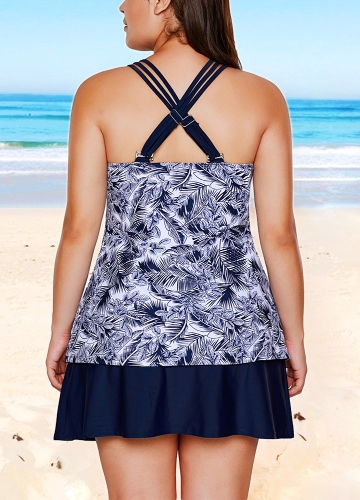 Sexy Women Tankini Set Swimsuit Print Strappy Padded Top Open Back High Waist Skirted Bottom Swimwear Bathing Suit BlueApparel &amp; Jewelry<br>Sexy Women Tankini Set Swimsuit Print Strappy Padded Top Open Back High Waist Skirted Bottom Swimwear Bathing Suit Blue<br>