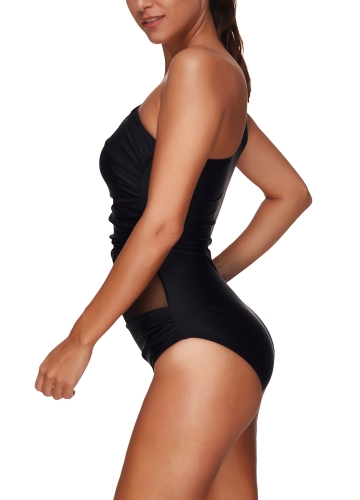 Sexy One Piece Swimsuit Women Summer Beachwear Mesh One Shoulder Swimwear Bodycon Bodysuit Bathing Suit BlackApparel &amp; Jewelry<br>Sexy One Piece Swimsuit Women Summer Beachwear Mesh One Shoulder Swimwear Bodycon Bodysuit Bathing Suit Black<br>