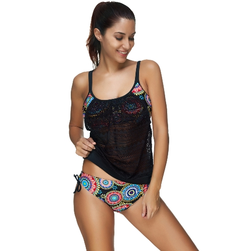 Women Bikini Set Swimwear Swimsuit Tribal Floral Print Strap Crochet Tankini Two Piece Bathing Suit BeachwearApparel &amp; Jewelry<br>Women Bikini Set Swimwear Swimsuit Tribal Floral Print Strap Crochet Tankini Two Piece Bathing Suit Beachwear<br>