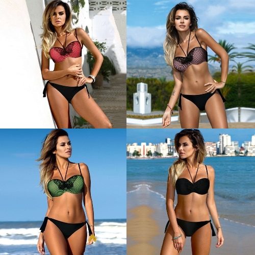 Sexy Women Bikini Set Block Bandage Strappy Halter Top Thong Two-Piece Swimwear Beach Swimsuit Bathing SuitApparel &amp; Jewelry<br>Sexy Women Bikini Set Block Bandage Strappy Halter Top Thong Two-Piece Swimwear Beach Swimsuit Bathing Suit<br>