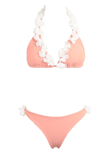 Sexy Women Bikini Set Холтер 3D Цветочные аппликации Бандаж Беспроводной купальный костюм Купальники Двухсекционная пляжная одежда