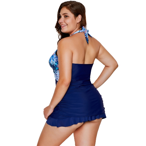 Sexy Women Tankini Set Swimsuit Printed Padded Top Backless High Waist Swimwear Two Piece Bathing Suit BlueApparel &amp; Jewelry<br>Sexy Women Tankini Set Swimsuit Printed Padded Top Backless High Waist Swimwear Two Piece Bathing Suit Blue<br>