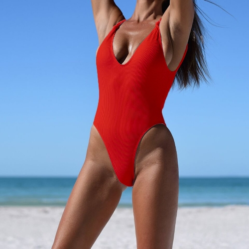 New Sexy Women Ribbed Knotted Backless Monokini One Piece Swimsuit Deep V Neck High Cut Swimwear BeachwearApparel &amp; Jewelry<br>New Sexy Women Ribbed Knotted Backless Monokini One Piece Swimsuit Deep V Neck High Cut Swimwear Beachwear<br>