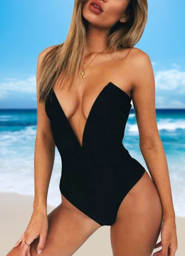 Sexy Women One Piece Bikini Monokini Swimsuits Deep V-Neck Backless Solid Swimwear Beach WearApparel &amp; Jewelry<br>Sexy Women One Piece Bikini Monokini Swimsuits Deep V-Neck Backless Solid Swimwear Beach Wear<br>