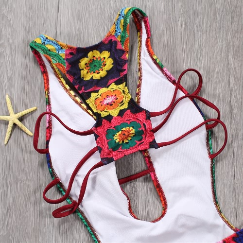 Women One Piece Swimsuit Plunge V Padded Colorful Crochet Patterns Rainbow Print Bandage Cut Out Backless Sexy MonokiniApparel &amp; Jewelry<br>Women One Piece Swimsuit Plunge V Padded Colorful Crochet Patterns Rainbow Print Bandage Cut Out Backless Sexy Monokini<br>