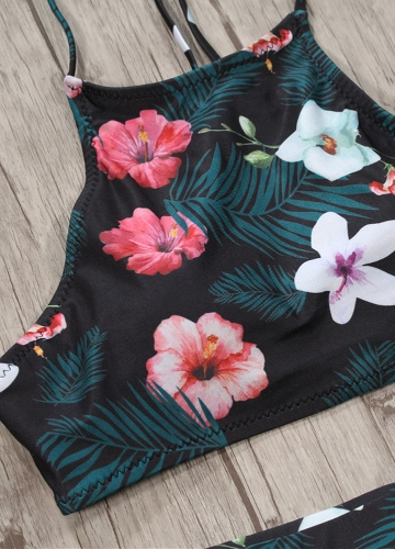 Sexy Women Bikini Set Floral Print Halter Bandage Push Up High Waist Two Piece Swimsuit Swimwear BlackApparel &amp; Jewelry<br>Sexy Women Bikini Set Floral Print Halter Bandage Push Up High Waist Two Piece Swimsuit Swimwear Black<br>