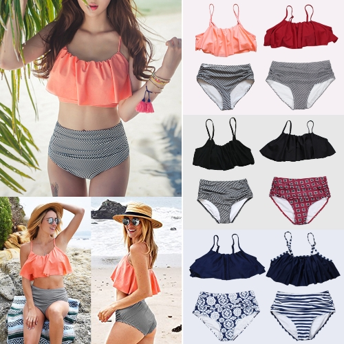 Women Bikini Set Ruffles High Waist Ruched Padded Wireless Two Piece Swimsuit SwimwearApparel &amp; Jewelry<br>Women Bikini Set Ruffles High Waist Ruched Padded Wireless Two Piece Swimsuit Swimwear<br>