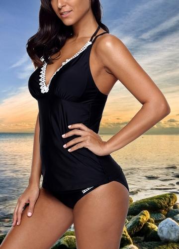 Women Bikini Set Swimsuit Push Up Swimwear Lace Trim Beach Wear Bathing Suit Plus Size Tankini SetApparel &amp; Jewelry<br>Women Bikini Set Swimsuit Push Up Swimwear Lace Trim Beach Wear Bathing Suit Plus Size Tankini Set<br>