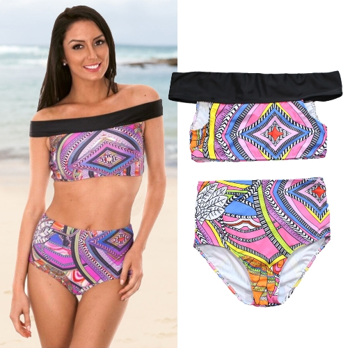 Boho Women Two Piece Bikini Set Off Shoulder Colorful Geometric Print Padded High Waist Sexy SwimsuitApparel &amp; Jewelry<br>Boho Women Two Piece Bikini Set Off Shoulder Colorful Geometric Print Padded High Waist Sexy Swimsuit<br>