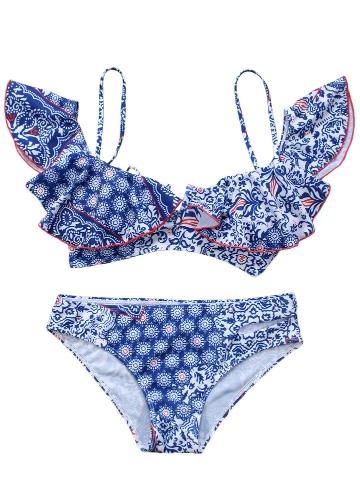 Women Bikini Set Ruffles Vintage Print Cut Out Bottom Low Waist Padded Two Piece Swimsuit SwimwearApparel &amp; Jewelry<br>Women Bikini Set Ruffles Vintage Print Cut Out Bottom Low Waist Padded Two Piece Swimsuit Swimwear<br>