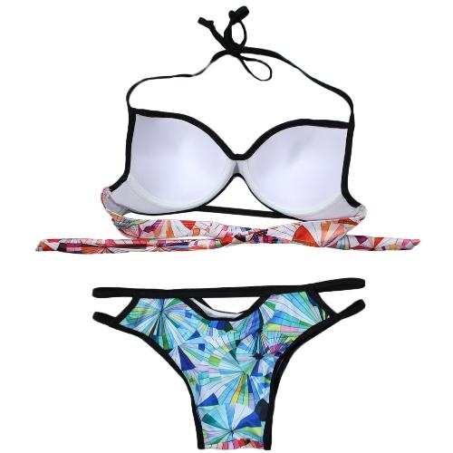 Women Bikini Set Geometric Print Cut Out Low Waist Halter Padded Two Piece Swimsuit SwimwearApparel &amp; Jewelry<br>Women Bikini Set Geometric Print Cut Out Low Waist Halter Padded Two Piece Swimsuit Swimwear<br>