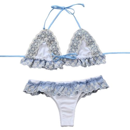 Bikini de encaje de las mujeres Set Strappy Hollow Out cintura baja acolchado traje de baño de dos piezas Swimwear