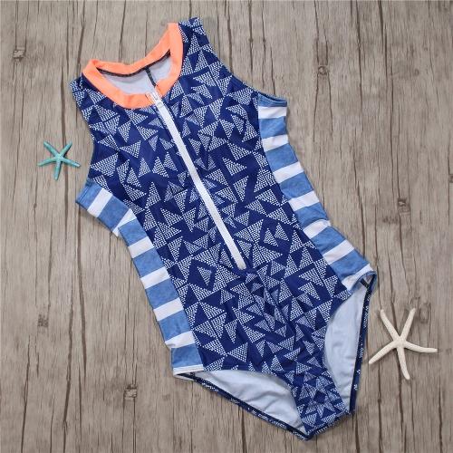 Women One Piece Swimsuit Swimwear Geometric Stripe Zipper Contrast Bodysuit Beach Wear Bathing Suit Monokini BlueApparel &amp; Jewelry<br>Women One Piece Swimsuit Swimwear Geometric Stripe Zipper Contrast Bodysuit Beach Wear Bathing Suit Monokini Blue<br>