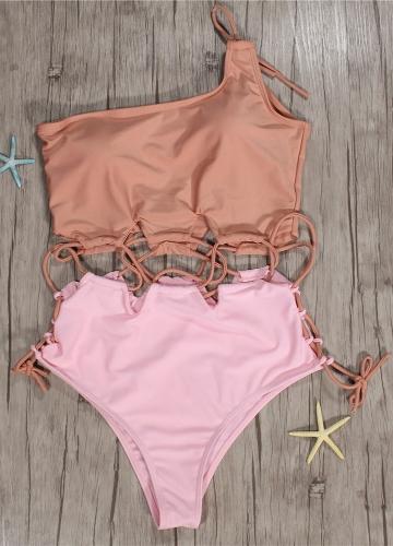 Women Single Shoulder Swimwear One Piece Swimsuit Solid Color Monokini Beach Wear Bathing Suit PinkApparel &amp; Jewelry<br>Women Single Shoulder Swimwear One Piece Swimsuit Solid Color Monokini Beach Wear Bathing Suit Pink<br>