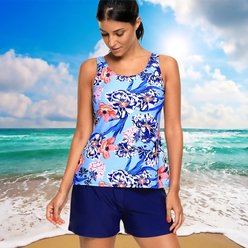Sexy Women Swimsuit Floral Print Bathing Suit Top+Short Plus Size Tankini Swimwear Beach Suit Blue/BlackApparel &amp; Jewelry<br>Sexy Women Swimsuit Floral Print Bathing Suit Top+Short Plus Size Tankini Swimwear Beach Suit Blue/Black<br>