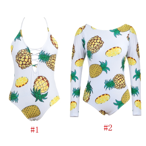 New Sexy Women Pineapple Print Lace Up Monokini One Piece Swimsuit Tie Back Bathing Suit SwimwearApparel &amp; Jewelry<br>New Sexy Women Pineapple Print Lace Up Monokini One Piece Swimsuit Tie Back Bathing Suit Swimwear<br>