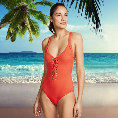 Sexy Women One-piece Swimsuit Plunge V Neck Crisscross Bandage Solid Swimwear Bathing SuitApparel &amp; Jewelry<br>Sexy Women One-piece Swimsuit Plunge V Neck Crisscross Bandage Solid Swimwear Bathing Suit<br>