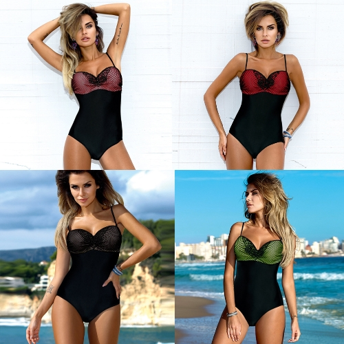 Sexy Women One-Piece Swimsuit African Contrast Color Monokini Push Up Padded Bikini Bathing Suit BeachwearApparel &amp; Jewelry<br>Sexy Women One-Piece Swimsuit African Contrast Color Monokini Push Up Padded Bikini Bathing Suit Beachwear<br>