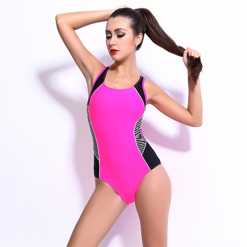 Sexy Women One-piece Swimsuit Contrast Color Block Sporty Monokini Swimwear Bathing Suit Dark Blue/Black/PinkApparel &amp; Jewelry<br>Sexy Women One-piece Swimsuit Contrast Color Block Sporty Monokini Swimwear Bathing Suit Dark Blue/Black/Pink<br>