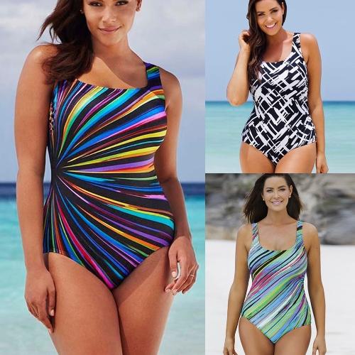 Sexy Women Large Size One-piece Swimsuit Contrast Color Stripes Monokini Swimwear Bathing Suit Blue/Black/Light Green