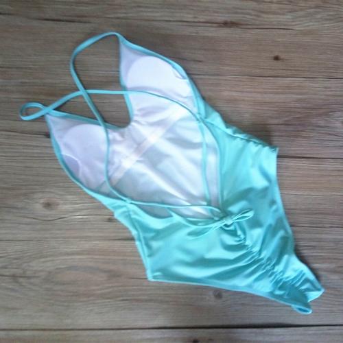 Women One Piece Swimsuit Spaghetti Strap Open Back Solid Padded Swimwear Monokini Bathing Suit